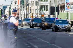 Motorcycle police in Trump motorcade in accident, Trump limo unaffected