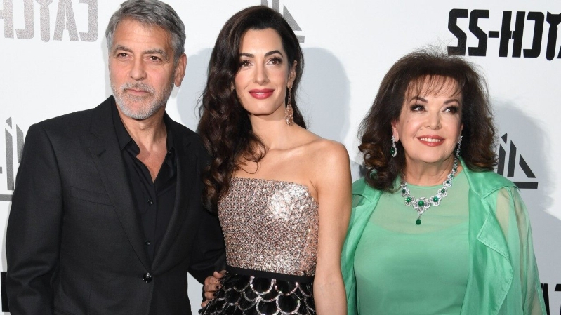 Amal Clooney and Her Mom Steal the Show at George Clooney's 'Catch 22' UK Premiere