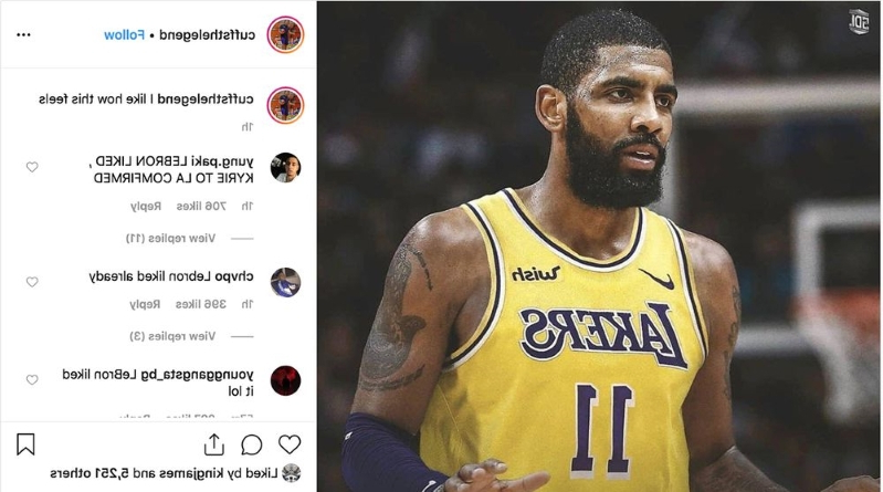 df04dfdbb59 LeBron James Liked an Instagram Post of Kyrie Irving in a Lakers Jersey