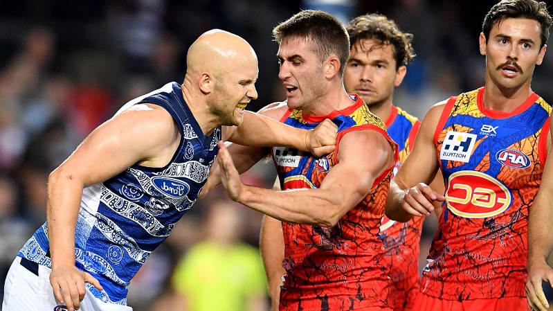Ablett in hot water over high hit in Geelong win