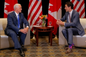 Canada's Trudeau, U.S. VP Pence meet to talk trade, China and Venezuela