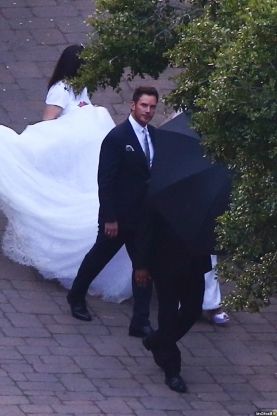 Best day of our lives! Chris Pratt and Katherine Schwarzenegger share adorable snap of their lavish wedding at the same ranch where her Great Uncle JFK honeymooned - as brother Patrick is spotted looking a little peaky the morning after