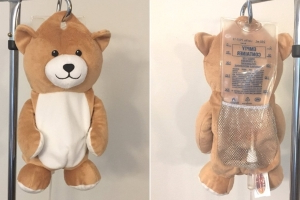 A young girl was afraid of IVs. So she invented a teddy bear to disguise them
