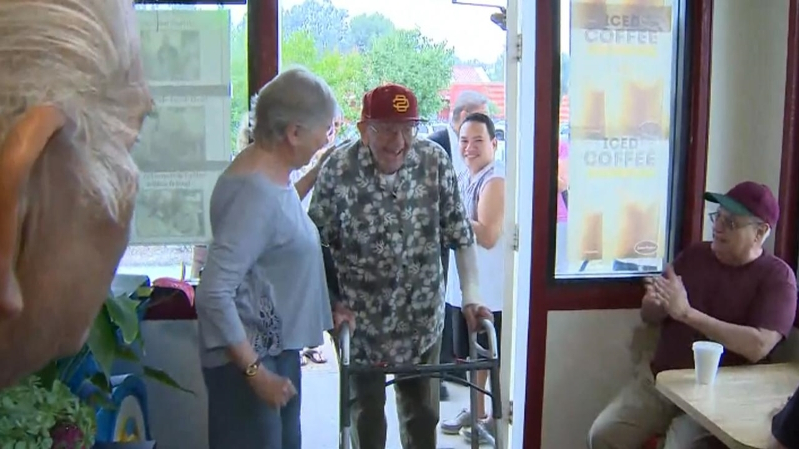 99-Year-Old WWII Vet Gets Birthday Party at His Favorite Doughnut Shop