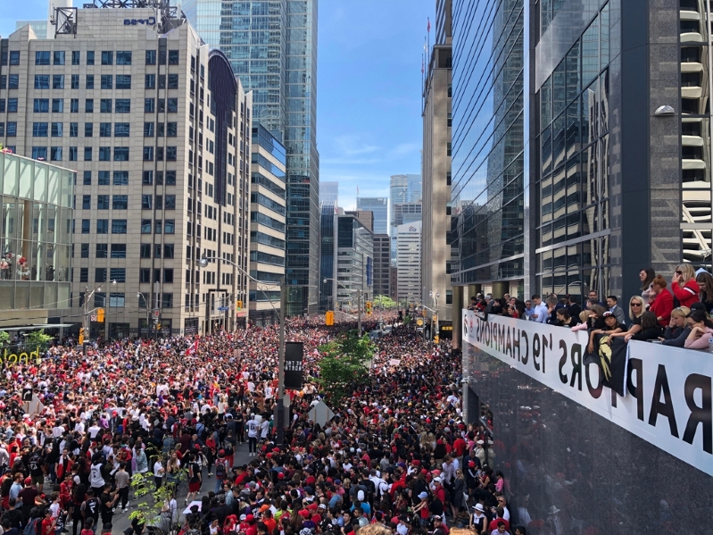 Huge crowds pack downtown Toronto for Raptors parade