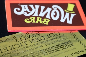 It's a golden ticket! Classic Wonka prop up for sale