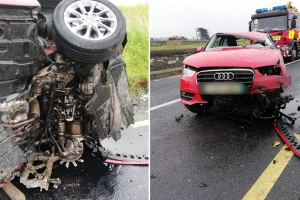 Shocking pictures of aftermath of car crash which injured two people