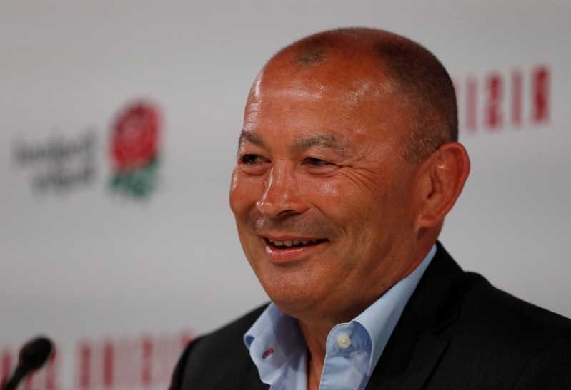 Eddie Jones watches on as England rugby stars compete in series of gruelling beach events during secret training camp in Newquay