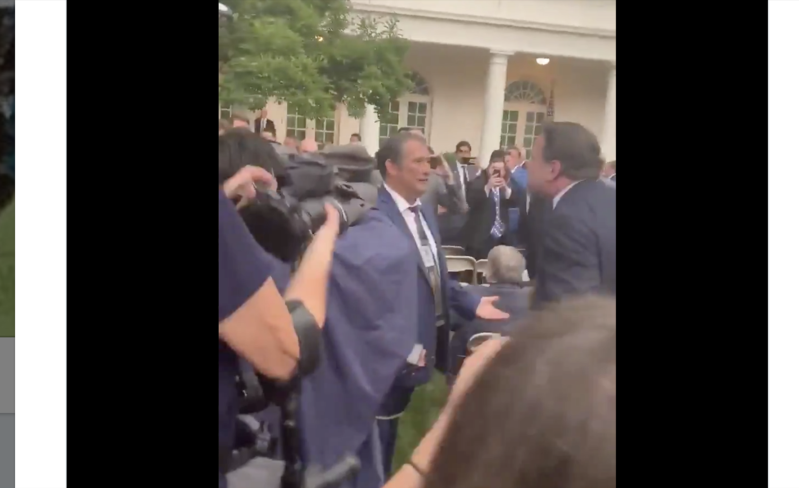 'You're a punk!': Sebastian Gorka confronts White House journalists in Rose Garden