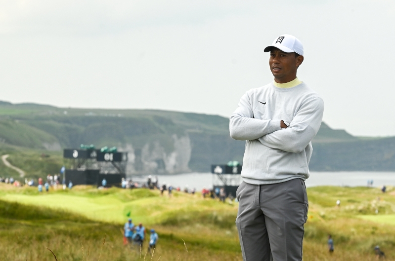 sport  british open 2019  tiger woods continues to study royal portrush intently with another 18