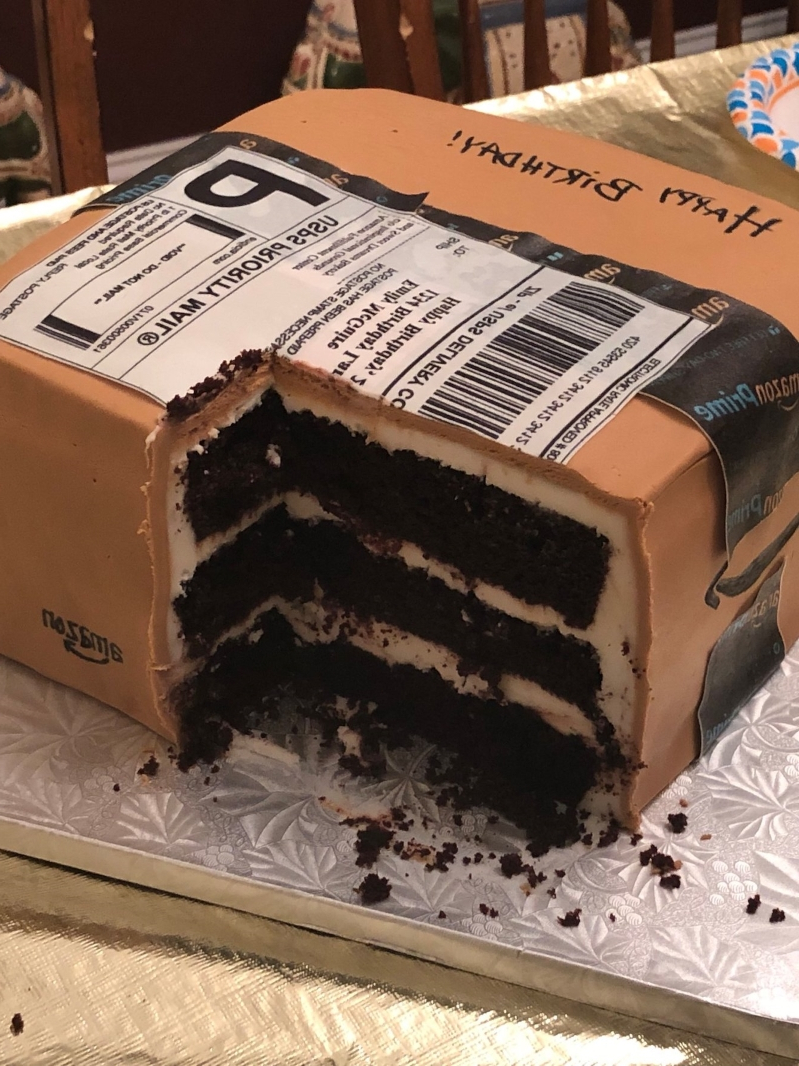 Remarkable Weird News A Woman Got A Birthday Cake Shaped Like An Amazon Personalised Birthday Cards Petedlily Jamesorg