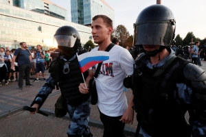 More than 1,000 people detained in Moscow amid clashes over city council election, monitor says
