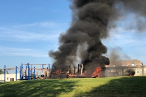 Teen faces arson charges after playground set on fire in Airdrie, Alta.