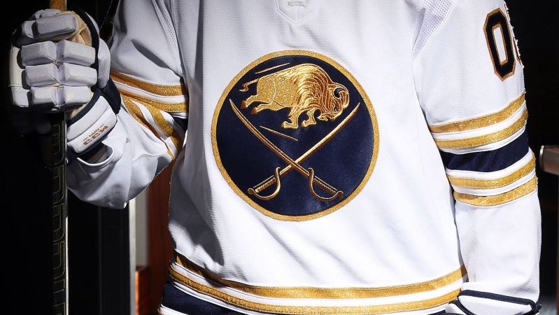 sports shoes b597d 97a25 Sport: Buffalo Sabres unveil golden 50th anniversary jerseys ...