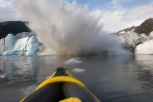 'We're lucky to be alive': Kayakers' close shave with collapsing glacier