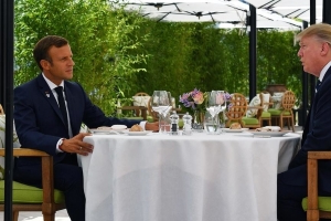 Macron, Trump break ice with pre-G7 lunch in bid to ease trade tensions
