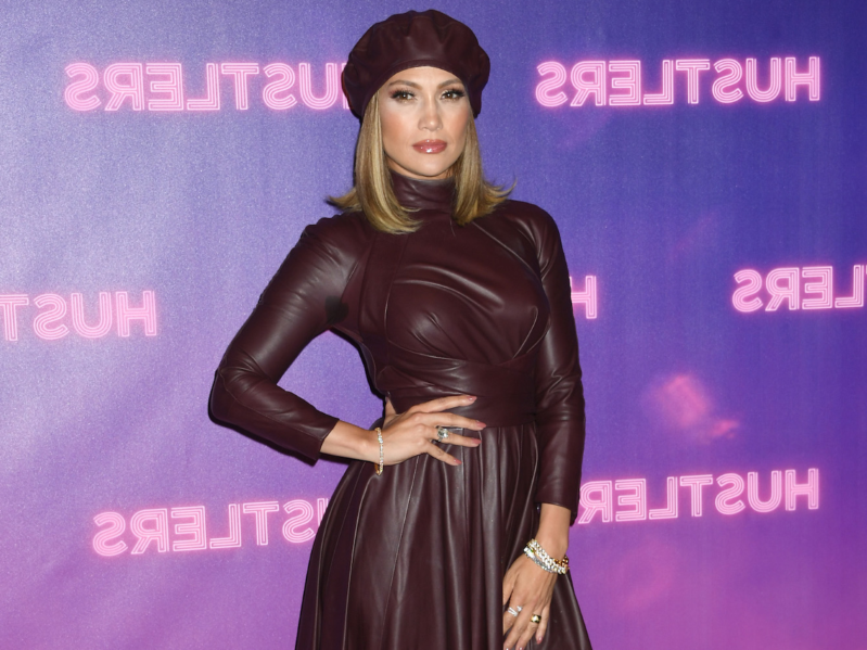 Jennifer Lopez showed she's ready for fall fashion in a leather dress and matching beret