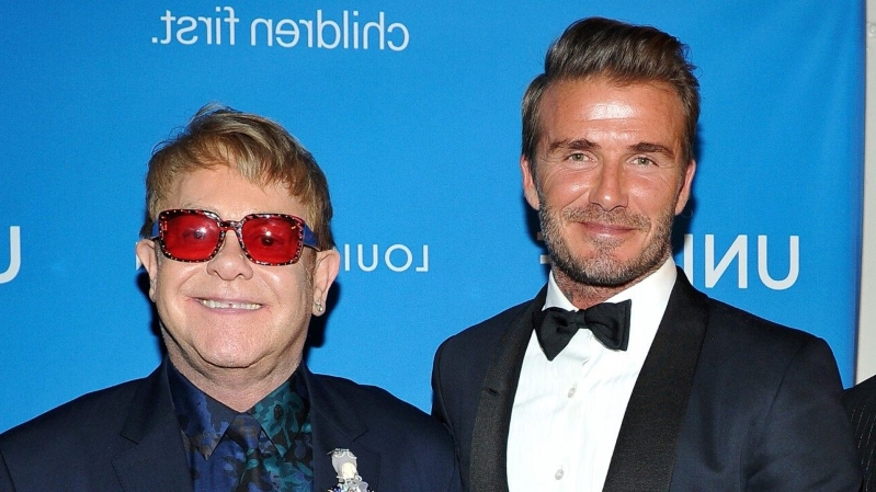 David Beckham Channels His Inner Elton John While Vacationing With the Singer and Family