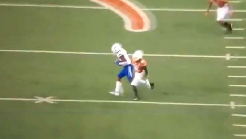 Watch: Texas DB celebrates while his man catches pass, leaves him in dust