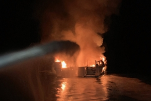 'I can't breathe … . there's no escape hatch': Dramatic mayday call from California boat on fire