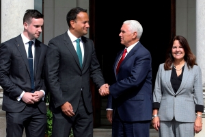 The Taoiseach and his partner have welcomed Mike Pence to Farmleigh ahead of a family lunch