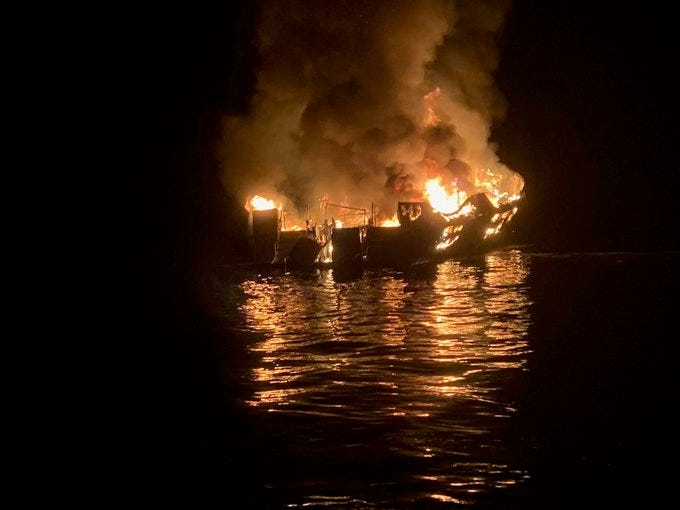 California boat fire: Dramatic Coast Guard video shows vessel ablaze