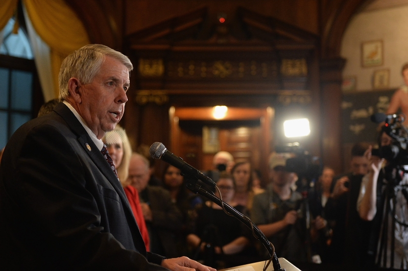 Missouri Governor Mike Parson addresses the media at the Missouri State Capitol Building in Jefferson City, Missouri on May 17, 2019.