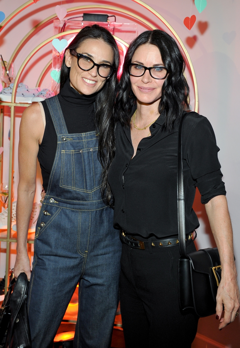 Courteney Cox, Demi Moore are posing for a picture: Courteney Cox and Demi Moore attend the Superga XO Jennifer Meyer Collection Launch Celebration at Chateau Marmont in Los Angeles on February 9, 2016.