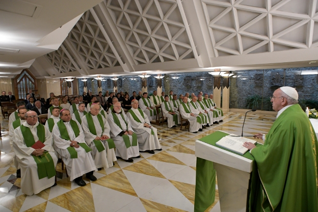 Slide 33 of 115: Pope Francis conducts a mass at Santa Marta chapel at the Vatican, September 19, 2019. Vatican Media/­Handout via REUTERS    ATTENTION EDITORS - THIS IMAGE WAS PROVIDED BY A THIRD PARTY.