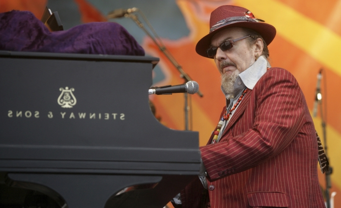 Slide 58 of 163: FILE - In this April 26, 2008 file photo, Dr. John performs during the 2008 New Orleans Jazz & Heritage Festival in New Orleans. The family of the Louisiana-born musician known as Dr. John says the celebrated singer and piano player who blended black and white musical influence with a hoodoo-infused stage persona and gravelly bayou drawl, has died. He was 77. A family statement released by his publicist says Dr. John, who was born Mac Rebennack, died early Thursday of a heart attack. (AP Photo/Dave Martin, File)