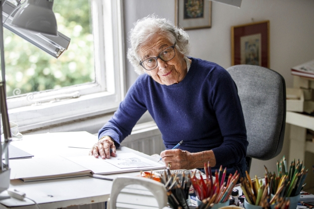Slide 62 of 163: German-born British author and illustrator Judith Kerr, poses for a photograph at her home in west London on June 12, 2018.