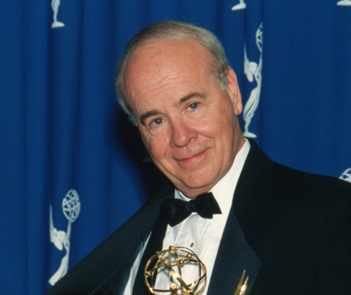 Slide 69 of 163: Actor Tim Conway holding his Emmy Award in the press room at the 48th Annual Primetime Emmy Awards on September 8, 1996 at the Pasadena Civic Auditorium in Pasadena, California.