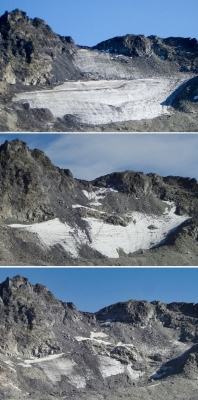 a rocky mountain: This combinaison of three handout pictures taken (From top) Summer 2006, August 2017 and September 2019 shows the now vanished Pizol glacier in the Swiss Alps