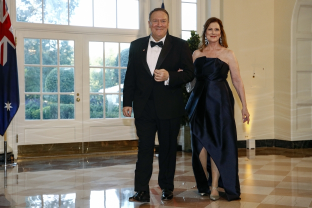 Slide 12 of 16: Secretary of State Mike Pompeo, right, and wife Susan Pompeo arrive for a State Dinner with Australian Prime Minister Scott Morrison and President Donald Trump at the White House, Friday, Sept. 20, 2019, in Washington. (AP Photo/Patrick Semansky)