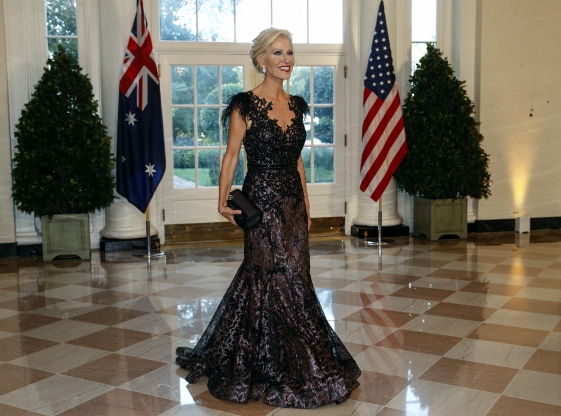 Slide 14 of 16: Counselor to the President Kellyanne Conway arrives for a State Dinner with Australian Prime Minister Scott Morrison and President Donald Trump at the White House, Friday, Sept. 20, 2019, in Washington. (AP Photo/Patrick Semansky)