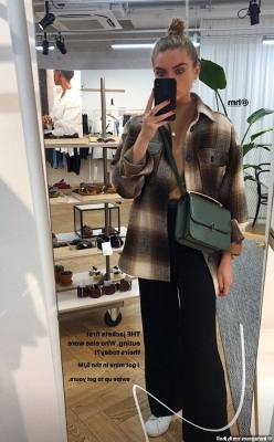 Influencers have been swooning over the brown checkered jacket from H&M, including Emily Bull, from London, who was quick to snap up the autumnal 'shacket'
