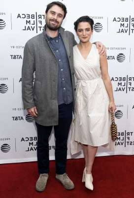 Jenny Slate et al. posing for a photo: On Sept. 9, comedy star Jenny Slate took to Instagram to announce that she and artist Ben Shattuck were engaged.