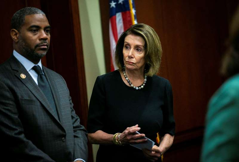 Nancy Pelosi, Steven Horsford are posing for a picture: Image: U.S. House Speaker Nancy Pelosi (D-CA) arrives during a news conference on lowering drug costs