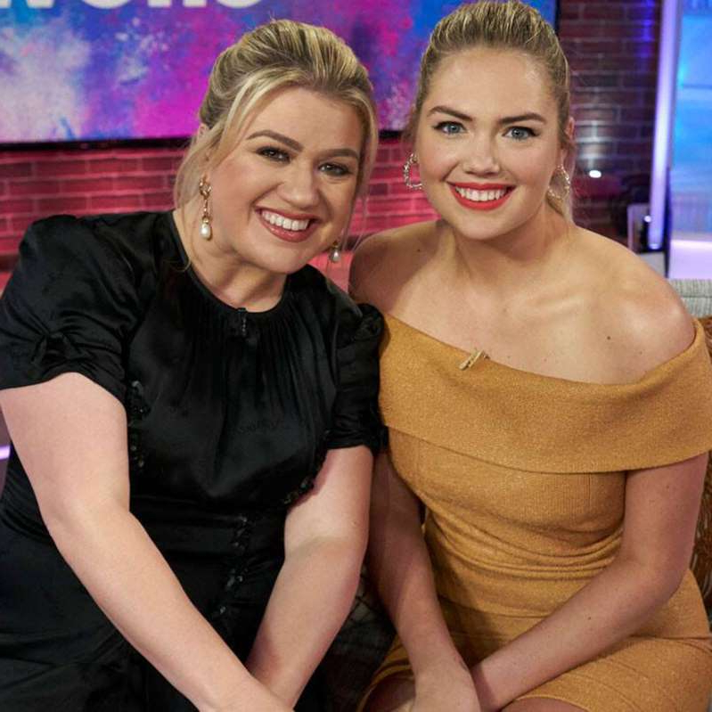 Kate Upton, Kelly Clarkson posing for the camera: On Clarkson's new talk show, the two moms dished about what it's really like going through motherhood in the public eye.