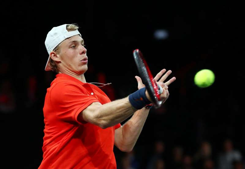 Tennis - Laver Cup - Palexpo, Geneva, Switzerland - September 20, 2019  Team World's Denis Shapovalov in action during his singles match against Team Europe's Dominic Thiem  REUTERS/Denis Balibouse