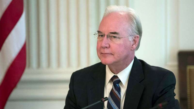 Tom Price wearing a suit and tie: Secretary of Health and Human Services Tom Price attends an opioid roundtable discussion at the White House in Washington, Sept. 28, 2017.