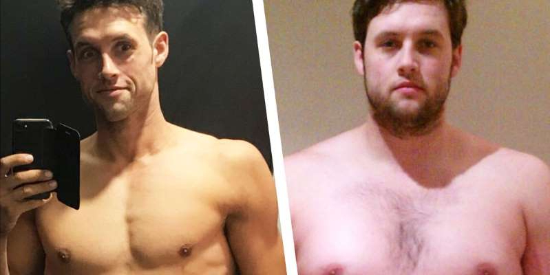 a man standing in front of a mirror posing for the camera: After his diabetes diagnosis, Steve Aaron-Sipple changed his diet, joined a gym, and went on pull of a 90-pound weight loss transformation.