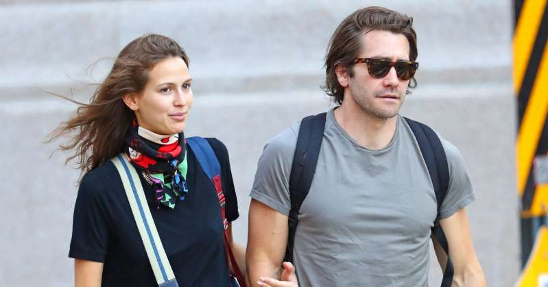 Jake Gyllenhaal wearing sunglasses: Jake Gyllenhaal Stays Close to French Model Jeanne Cadieu in a Rare Outing