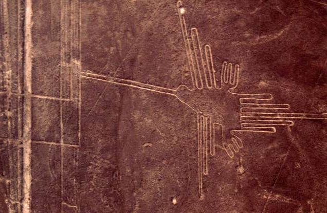 Slide 1 of 13: Used for rituals probably related to astronomy, the Nazca geoglyphs covering an area of around 400 square miles, are visible only from the air, There are numerous designs of animals, objects, anthropomorphic figures of colossal, proportions, flowers and plants and geometric patterns and lines. The humming bird. Peru. Nazca. 200 BC - 600 AD. Pampa Colorada, between Nazca and Pampa towns. (Photo by Werner Forman/Universal Images Group/Getty Images)