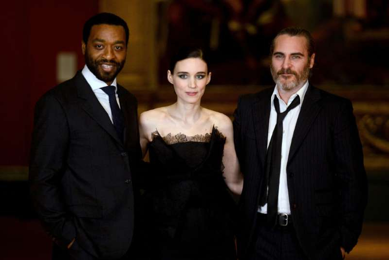 Joaquin Phoenix, Rooney Mara and Chiwetel Ejiofor attend the 'Mary Magdalene' special screening held at The National Gallery on February 26, 2018 in London, England.