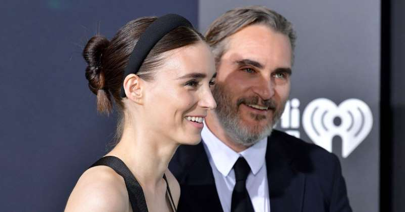 Joaquin Phoenix, Rooney Mara are posing for a picture: Joaquin Phoenix Says His Fiancée Rooney Mara Is the 'Only Girl I Ever Looked Up on the Internet'