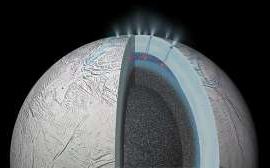 This artist's rendering shows how thermal activity on Enceladus might be spewing dust into space that eventually falls into orbit around Saturn.