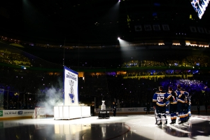 VIDEO: Blues Hoist Stanley Cup Banner on Home Ice Prior to Season Opener