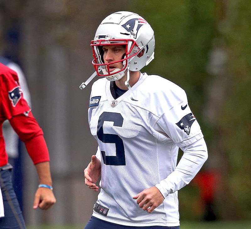 FOXBOROUGH, MA - OCTOBER 3: New England Patriots new kicker Mike Nugent (2) is pictured during the stretching portion of New England Patriots practice at Gillette Stadium in Foxborough, MA on Oct. 3, 2019. (Photo by Barry Chin/The Boston Globe via Getty Images)