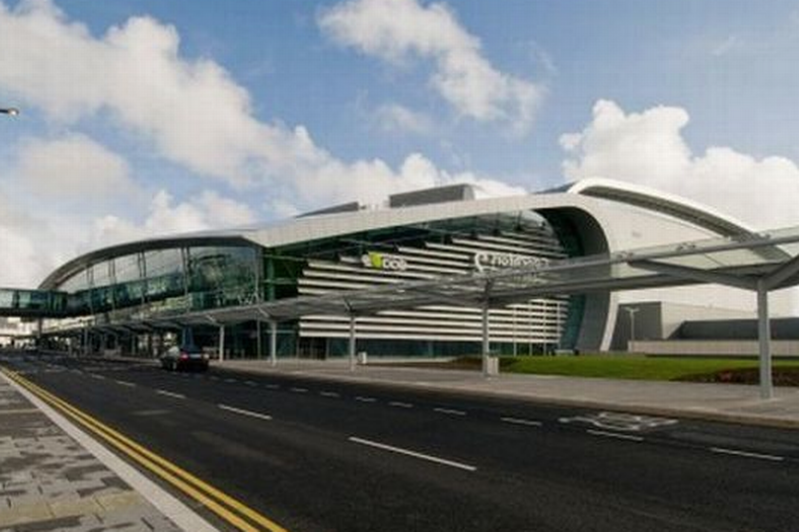 a train on a steel track: Dublin Airport stock